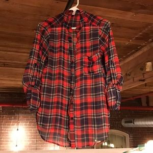 Sheer Red/Navy Plaid Tunic